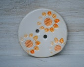 Sew on Buttons Springtime sunflowers ceramic button orange white