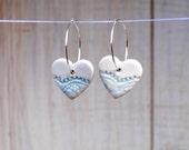 Sale Winter Heart Earrings delicate Lace textured Ceramic heart beads on sterling silver hoop Ice Blue