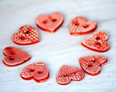 Red Heart Button, The queen of Hearts handmade ceramic Lace button, one red love hearts button