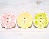 Summer Buttons handmade ceramic pastel leaves flowers yellow pink green