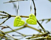 SALE Green heart earrings Handmade Ceramic Beads hung on sterling silver hoops
