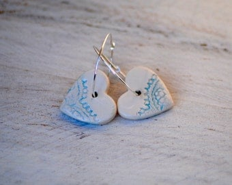 SALE Ice Heart Earrings delicate Lace textured Ceramic heart beads on sterling silver hoop, Winter earrings