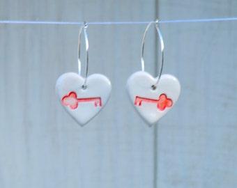 Handmade Earrings, Skeleton Key Earrings, Ceramic heart beads on sterling silver hoop earrings. Ceramic beads, Red heart earrings.