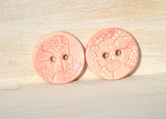 Pink Button Ceramic Lace imprinted handmade pair of buttons