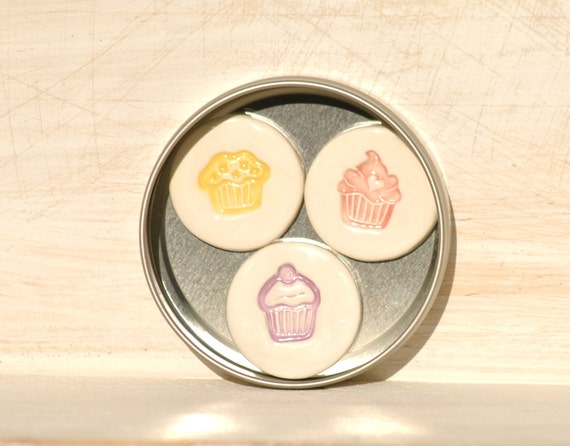 Pastel Cupcake Magnets set of 3 in a Tin Pink Yellow & Purple Cute as Candy kawaii party cake