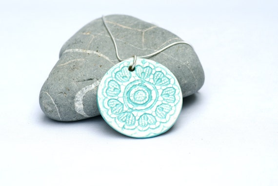 Blue Flower Necklace Sky Blue turquoise Lace ceramic pendant with Sterling silver chain