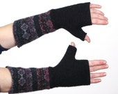 Uber Thick and Warm Felted Wool Arm Warmers - navy blue print