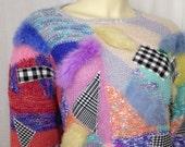 Ugly 1980s sweater Vintage Connexion Au Contraire patchwork rabbit fur pastel