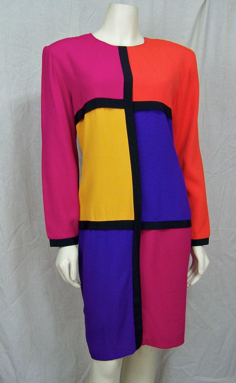 Vintage 1980s Dress Mondrian Style Shift De Stijl Paul Harris