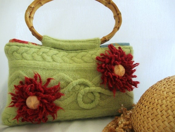 Recycled Felted Wool Purse- Spring Green, tropical florals and bamboo-Treasury Featured