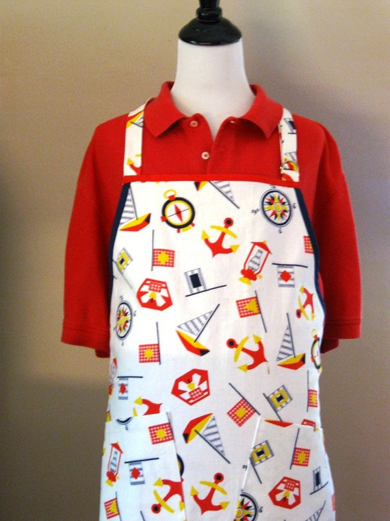 Men's Nautical Full Apron-  Repurposed fabric, Red, White and Blue