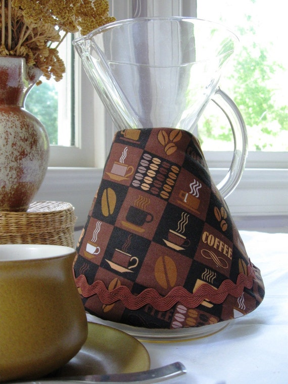 Chemex Coffee Cozy-10 Cup, Coffee Motif Print