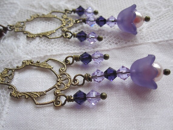 Lavender bell flower earrings with sparkly crystals & brass filigree.