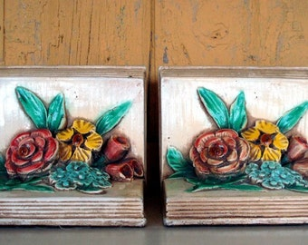SALE Shabby Chic Best Vintage Chalkware Floral Bookends