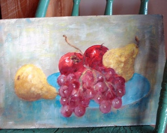 SALE Tasty  Vintage Fruit Painting Wall Art