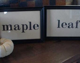 SALE  Vintage  Framed Spelling Cards-Maple Leaf
