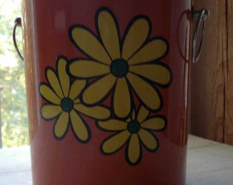 SALE Vintage Retro 1960's Orange Flower Power Ice Bucket