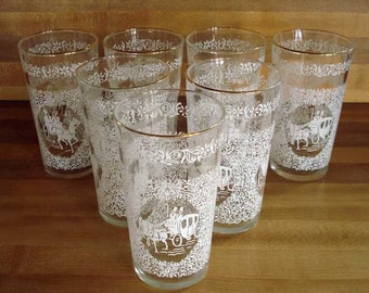 SALE 1960s Horse and Buggy Lacey Dinking Glasses 6 Plus A Bonus