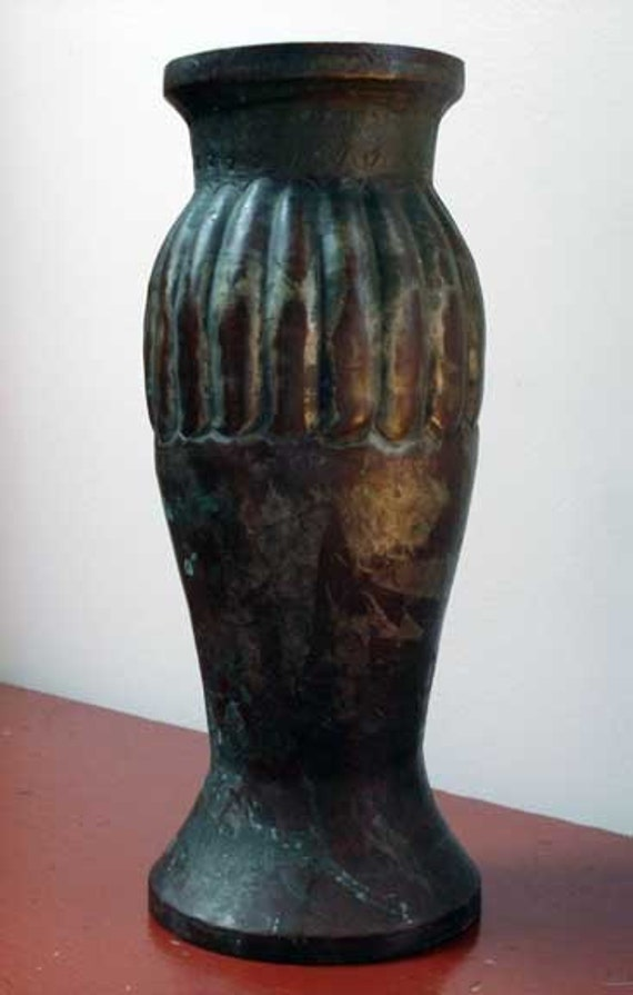 SALE Metal Urn with Egyptian Design