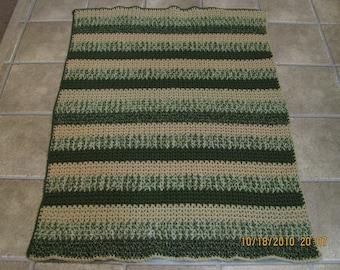V Stitch Afghan - green tones