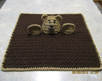 Teddy Bear Cuddle Buddy Blanket - brown