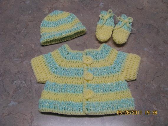 Baby Set - hat, sweater, booties - green/yellow