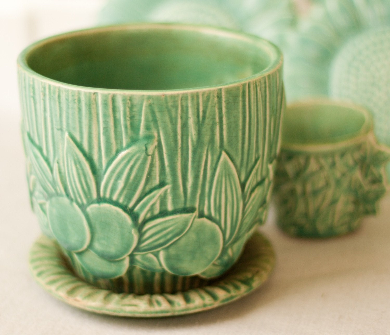 Vintage Mccoy Pottery Planter In Gloss Turquoise By Beezus