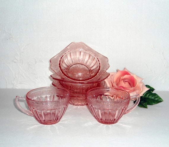 Pink Adam Depression Glass Dessert Bowls Punch Cups