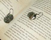 Round Green Sea Glass Earrings