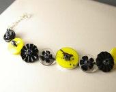 Crow on Yellow Button Bracelet