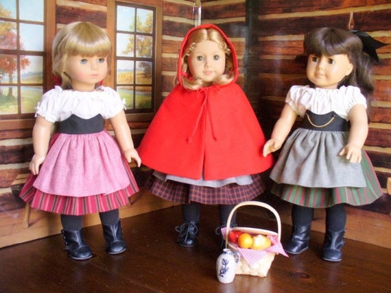 Doll Clothes Pattern, Little Red Riding Hood, No 1009