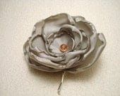 Silver Satin Flower Adorned with Pink Bobby Pin