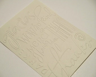 10 Thanks Embossed Cardstock - Choose your Color