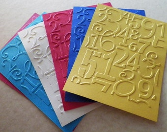 6 Number Collage Embossed Cardstock - Choose your Color
