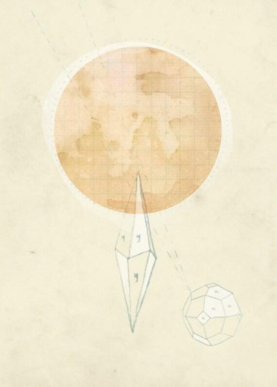 Moon Rocks, art print 8x10, mixed media illustrated art, minerals, home decor, peach, pastel, drawing, pink moon, geometric
