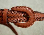 Vintage leather brown braided belt