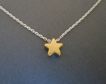 Gold Star on Silver Chain Necklace
