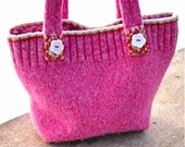 Pink Felted Wool Purse