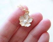 Champagne - A Beautiful Flower Necklace On 14K gold filled chain - Simple everyday delicate jewelry
