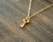 Simple Vermeil Key Necklace - On a 14K gold filled chain- Simple everyday delicate modern layering jewelry