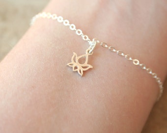 The Tiny Sterling Silver Lotus Bracelet / everyday modern delicate jewelry