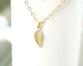 Tiny Gold Filled Leaf Necklace - Little One