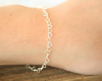 Mini Sterling Silver Heart Bracelet