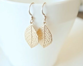 Gleaming Vermeil  Leaf Earrings - On Gold Filled Hooks