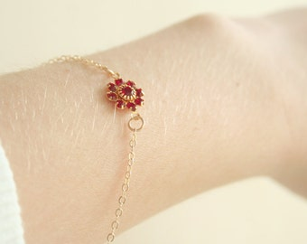 Ruby Blossom Bracelet - on 14K gold filled chain - simple everyday jewelry