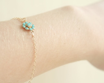Turquoise Blossom Bracelet / 14K gold filled chain / simple everyday modern jewelry