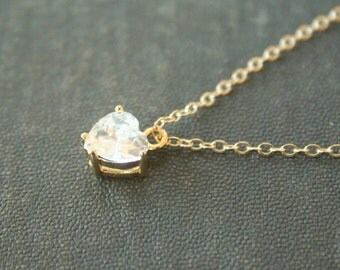 Sparkling Clear Heart Necklace - On gold filled chain - crystal everyday dainty jewelry