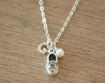 A Tiny Baby Shoe - ALL Sterling Silver Customizable Initial and Birthstone Necklace