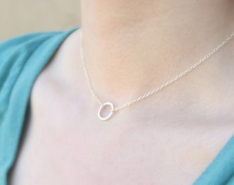 Simplistic Sterling Circle Necklace- delicate everyday dainty jewelry