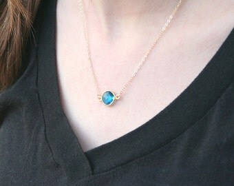 Sapphire Eyes -14K Gold Filled Chain- Simple everyday delicate jewelry